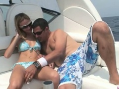 Blonde michelle lays on the boat and gets her pussy licked