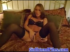 Beauty in heels and stockings plays solo