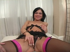 Brunette rubs her pussy and gets drilled