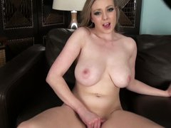Busty Sapphire Blue is lonely but horny. She takes off her panties and strokes her juicy pussy hard with her hand. Then big meloned lady takes her new toy!