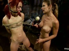 Naked pigtailed redhead Zoe Voss gets fastened up and fucked hard by big titted lesbian domina Felony. Crazy domme fucks submissive Zoe Voss in the ass.