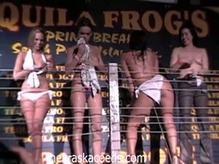 Horny college babes stripping and seducing dudes in hot club