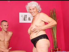 Busty grandma sucks dong and gets drilled by a youthful stud
