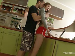 fingered and mouth fucked in the kitchen