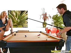 cutie with hairy pussy on the snooker table