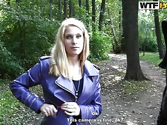 horny blonde in the woods
