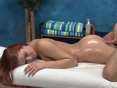 Redhead cutie Abby receives fucked from behind