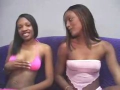 Young black gal sits and sucks his jock
