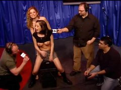 Schoolgirl playgirl rides Sybian on Howard Stern show