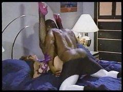 Hot white porn slut taken by black dude in classic scene