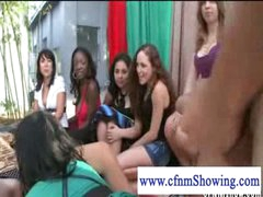 Cfnm girls jerking off guy in a swing while he eats pussy