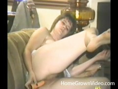 Double dildo action with a retro chick