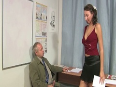 Old teacher acquires brunette to suck and fuck