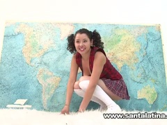 Hawt naughty latina masturbating whilst taking geography test